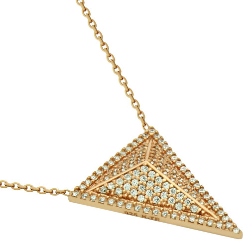 "ROSE GOLD PLATED TRIANGLE PYRAMID CZ MICRO PAVE NECKLACE 17"" + 2.5"""