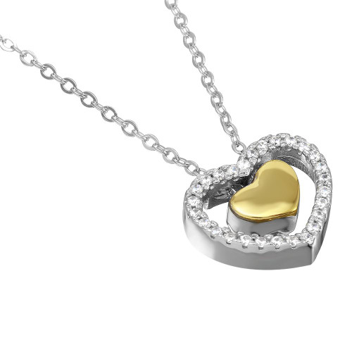 """RHODIUM AND GOLD PLATED 15MM FLOATING CZ HEARTS NECKLACE 16"""" + 2"""