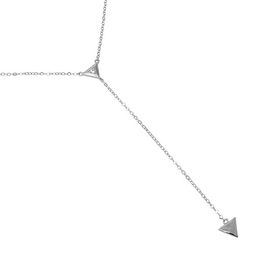 "RHODIUM PLATED DUAL TRIANGLE CZ ""Y"" NECKLACE 16"" + 2"