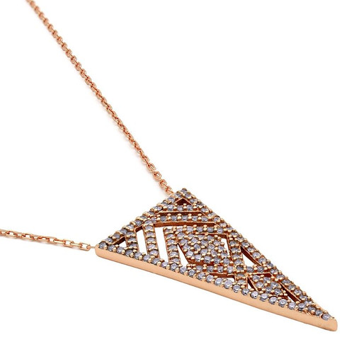"ROSE GOLD PLATED CZ TRIANGLE FILIGREE NECKLACE 16.5"" +2"""