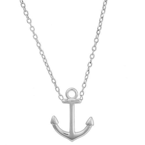 "RHODIUM PLATED ANCHOR NECKLACE 16"" + 2"