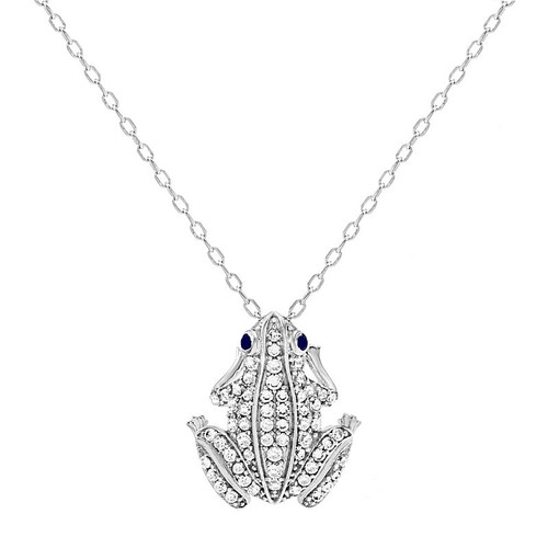 """RHODIUM PLATED CZ FROG NECKLACE 16"""" + 2"""