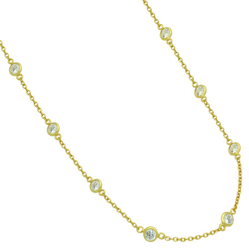 GOLD PLATED 4MM BEZEL CZ BY THE YARD NECKLACE 18""