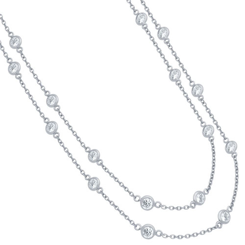"""RHODIUM PLATED 4MM BEZEL CZ BY THE YARD NECKLACE 60"""""""