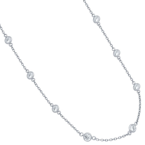 """RHODIUM PLATED 4MM BEZEL CZ BY THE YARD NECKLACE 24"""""""