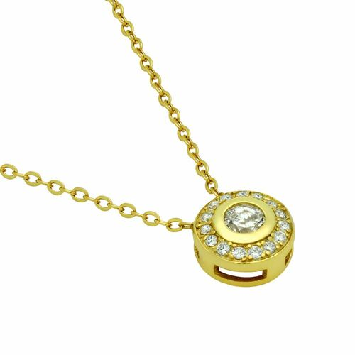 """GOLD PLATED ELEGANT ROUND CZ NECKLACE 18"""""""