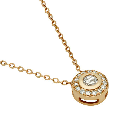 ROSE GOLD PLATED ELEGANT ROUND CZ NECKLACE 18""