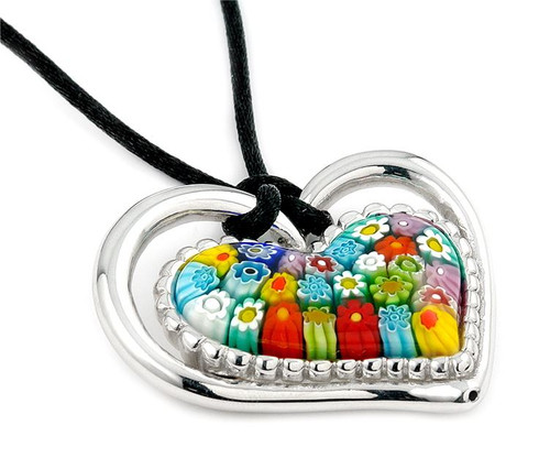 Murano MULTICOLOR DOUBLE HEART PENDANT WITH CORD 19""
