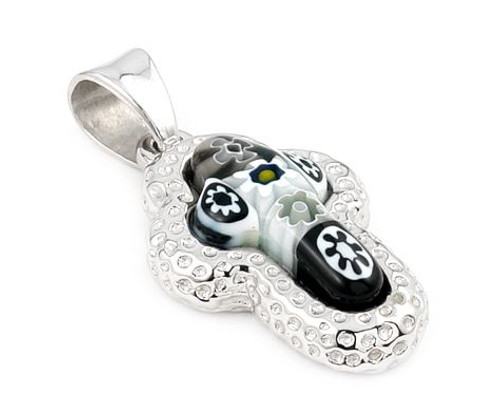MURANO MILLEFIORI BLACK AND WHITE CROSS PENDANT WITH ELECTROFORM SILVER FRAME