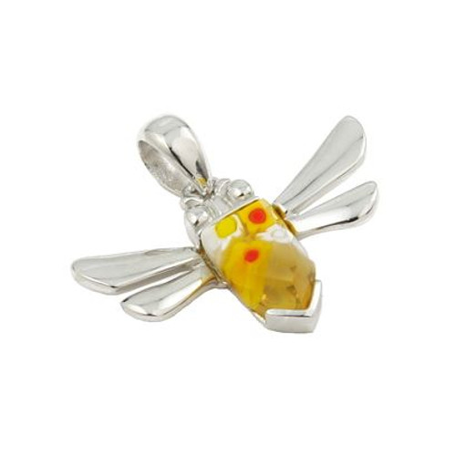 MURANO MILLEFIORI YELLOW FACETED DRAGONFLY PENDANT