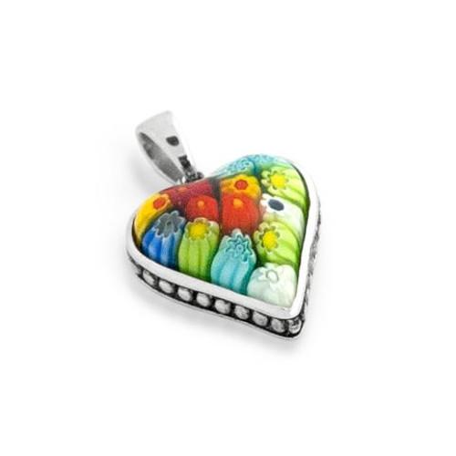 MULTICOLOR MURANO MILLEFIORI HEART SHAPE PENDANT WITH BEADED DESIGN
