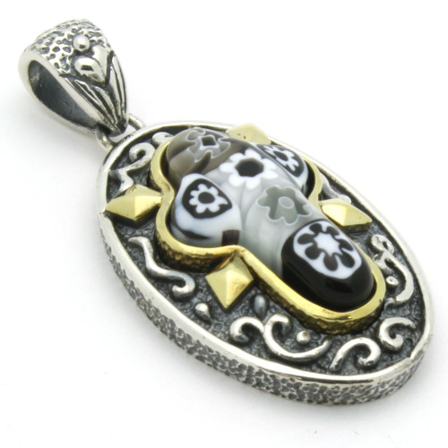 BLACK AND WHITE MURANO MILLEFIORI ORNATE OVAL CROSS PENDANT