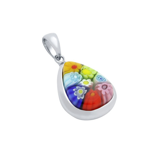 MULTICOLOR MURANO MILLEFIORI DROP SHAPED PENDANT