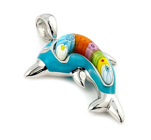 LIGHT BLUE AND MULTI COLOR DOLPHIN MILLACRELI ANIMAL PENDANT
