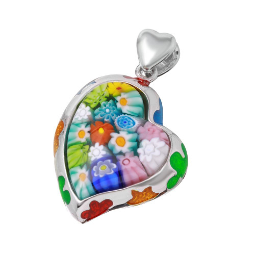 MURANO MILLEFIORI MULTICOLOR SMALL CURVED HEART PENDANT