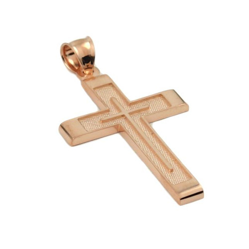 ROSE GOLD PLATED STERLING SILVER SQUARE CROSS PENDANT