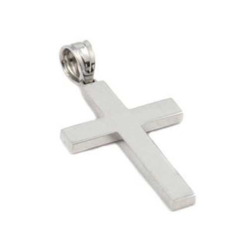 RHODIUM PLATED PLAIN CROSS PENDANT