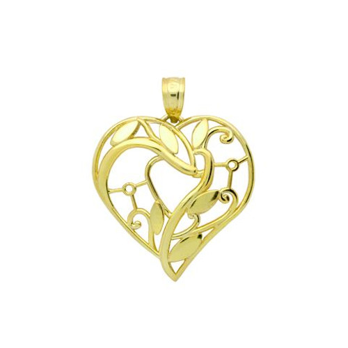 GOLD PLATED HIGH POLISHED CUTOUT INTRICATE FLORAL DESIGN HEART PENDANT