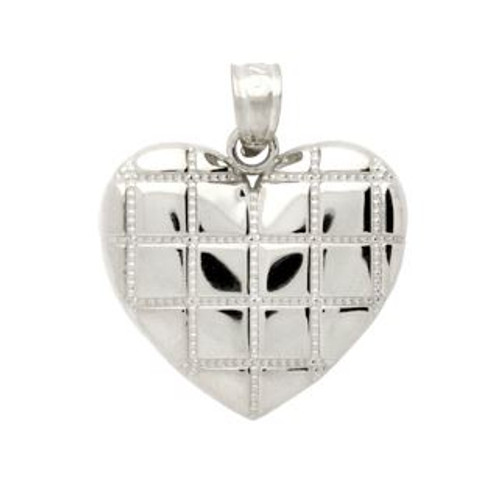 RHODIUM PLATED STERLING SILVER CROSSHATCH DESIGN HEART PENDANT
