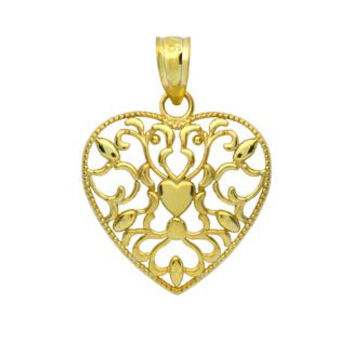 GOLD PLATED STERLING SILVER FLORAL DESIGNS IN A HEART PENDANT
