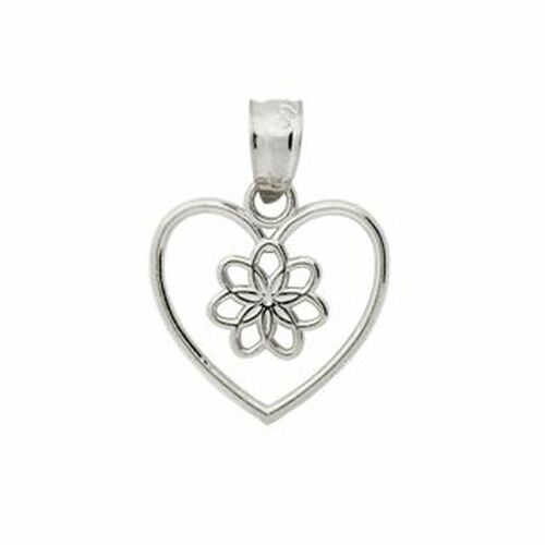 RHODIUM PLATED STERLING SILVER FLOWER IN A HEART PENDANT