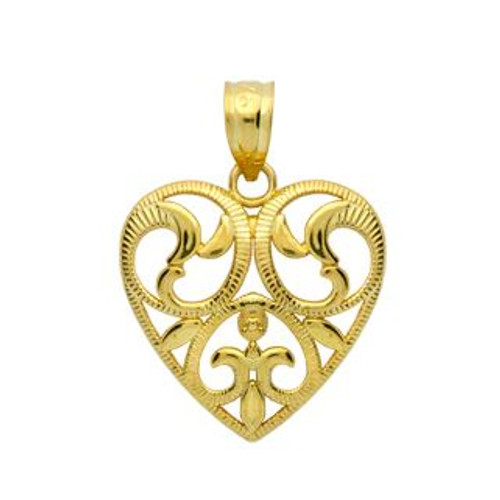 GOLD PLATED FLORAL DESIGN HEART PENDANT