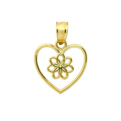 GOLD PLATED STERLING SILVER FLOWER IN A HEART PENDANT