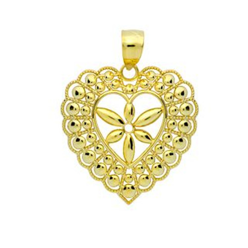 GOLD PLATED SMALL FLORAL DESIGN CENTER HEART FRAME PENDANT