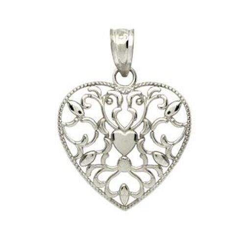 RHODIUM PLATED STERLING SILVER FLORAL DESIGNS IN A HEART PENDANT