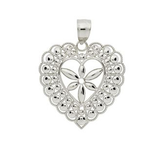 RHODIUM PLATED SMALL FLORAL DESIGN CENTER HEART FRAME PENDANT