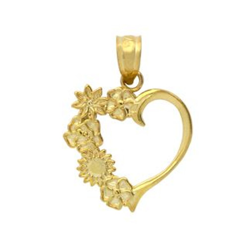 GOLD PLATED STERLING SILVER FLOWERS IN A HEART SHAPE PENDANT