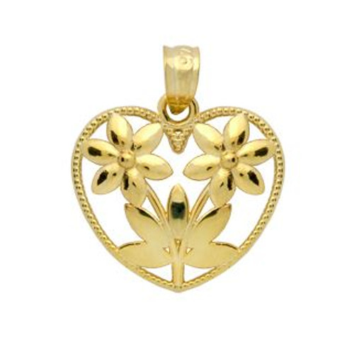 GOLD PLATED STERLING SILVER TWO FLOWERS IN A HEART SHAPE FRAME PENDANT