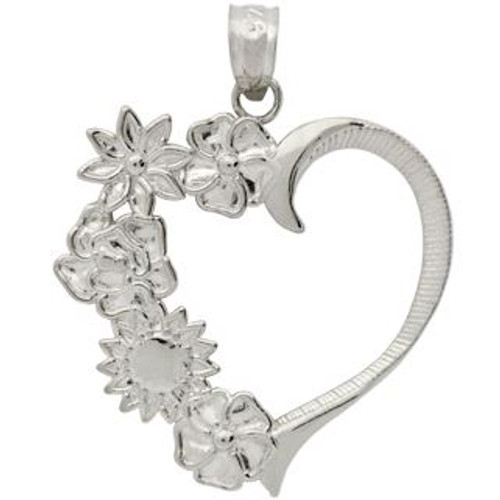 RHODIUM PLATED STERLING SILVER LARGE FLOWERS IN A HEART SHAPE PENDANT