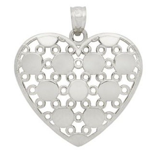 RHODIUM PLATED STERLING SILVER ROUND DESIGN HEART PENDANT
