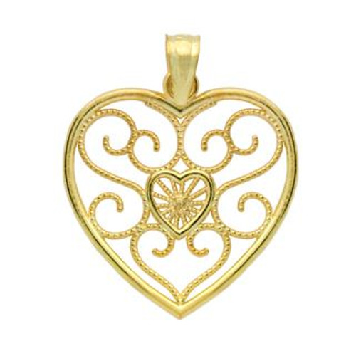 GOLD PLATED STERLING SILVER HEART IN A HEART FILIGRY PENDANT