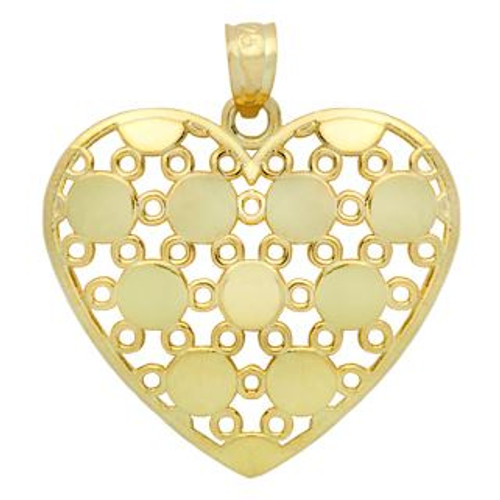 GOLD PLATED STERLING SILVER ROUND DESIGN HEART PENDANT