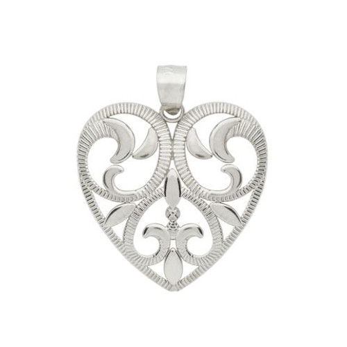 RHODIUM PLATED FLORAL DESIGN CUTOUT HEART PENDANT