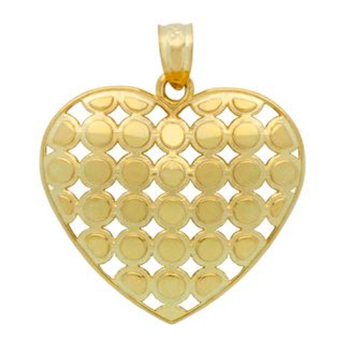 GOLD PLATED STERLING SILVER CUTOUT ROUND PATTERN DESIGN HEART PENDANT