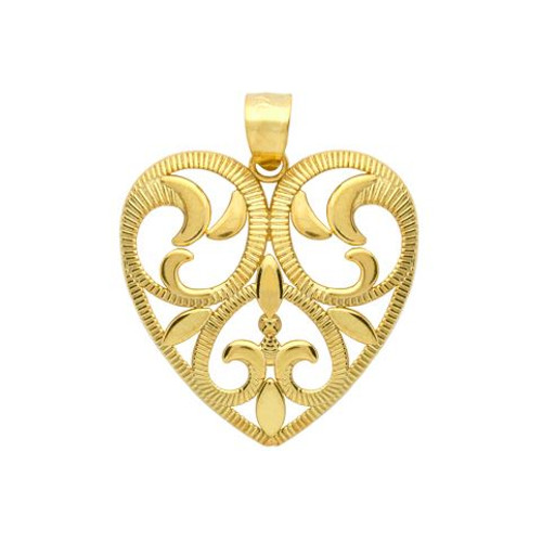 GOLD PLATED FLORAL DESIGN CUTOUT HEART PENDANT