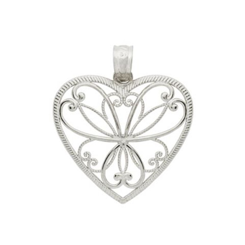 RHODIUM PLATED HEART BRANCHES HEART PENDANT