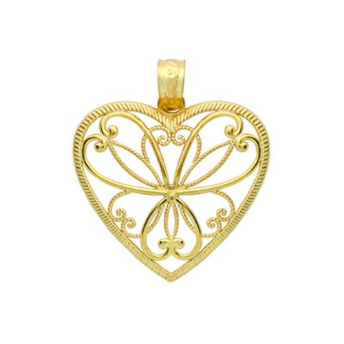 GOLD PLATED HEART BRANCHES HEART PENDANT