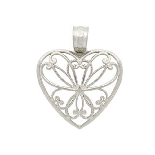 RHODIUM PLATED HEART BRANCHES IN A HEART PENDANT