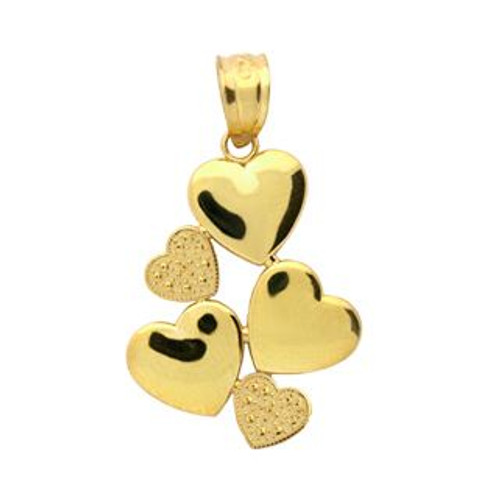 GOLD PLATED STERLING SILVER SMALL 5 HEART PENDANT