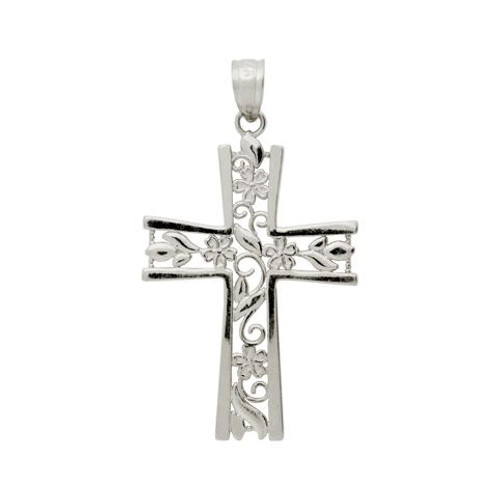 RHODIUM PLATED STERLING SILVER FLORAL CUTOUTS IN A CROSS PENDANT