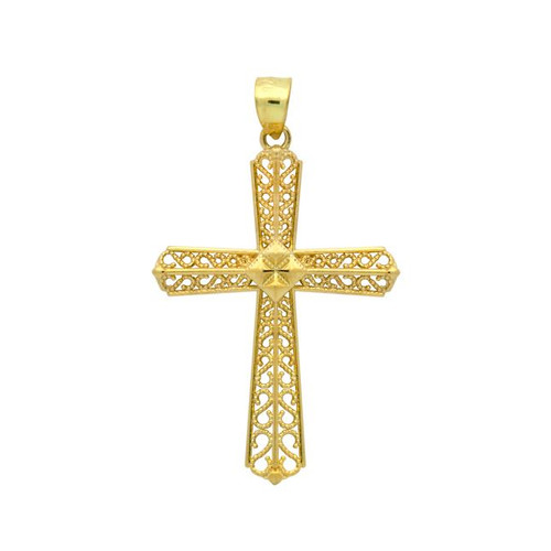 GOLD PLATED STERLING SILVER BEADED CUTOUT DESIGN CROSS PENDANT