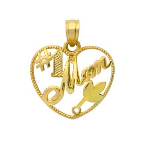 GOLD PLATED STERLING SILVER #1 MOM HEART PENDANT