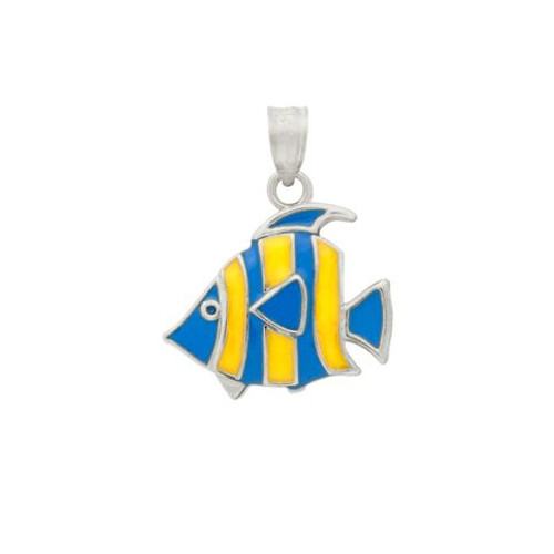RHODIUM PLATED ENAMELED FISH CHARM