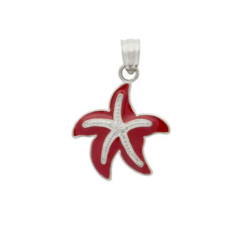 RHODIUM PLATED ENAMELED STARFISH CHARM
