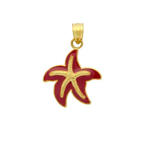 GOLD PLATED ENAMELED STARFISH CHARM