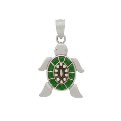 RHODIUM PLATED ENAMELED TURTLE CHARM